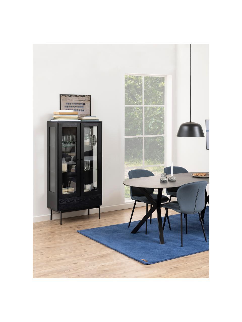 Vetrina nera Angus, Ripiani: vetro, Piedini: metallo rivestito, Nero trasparente, Larg. 75 x Alt. 152 cm