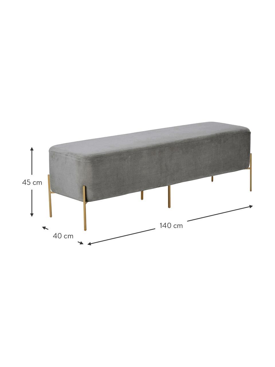 Panca imbottita in velluto Harper, Rivestimento: velluto Con 20.000 cicli , Rivestimento: grigio scuro Base: dorato opaco, Larg. 140 x Alt. 45 cm