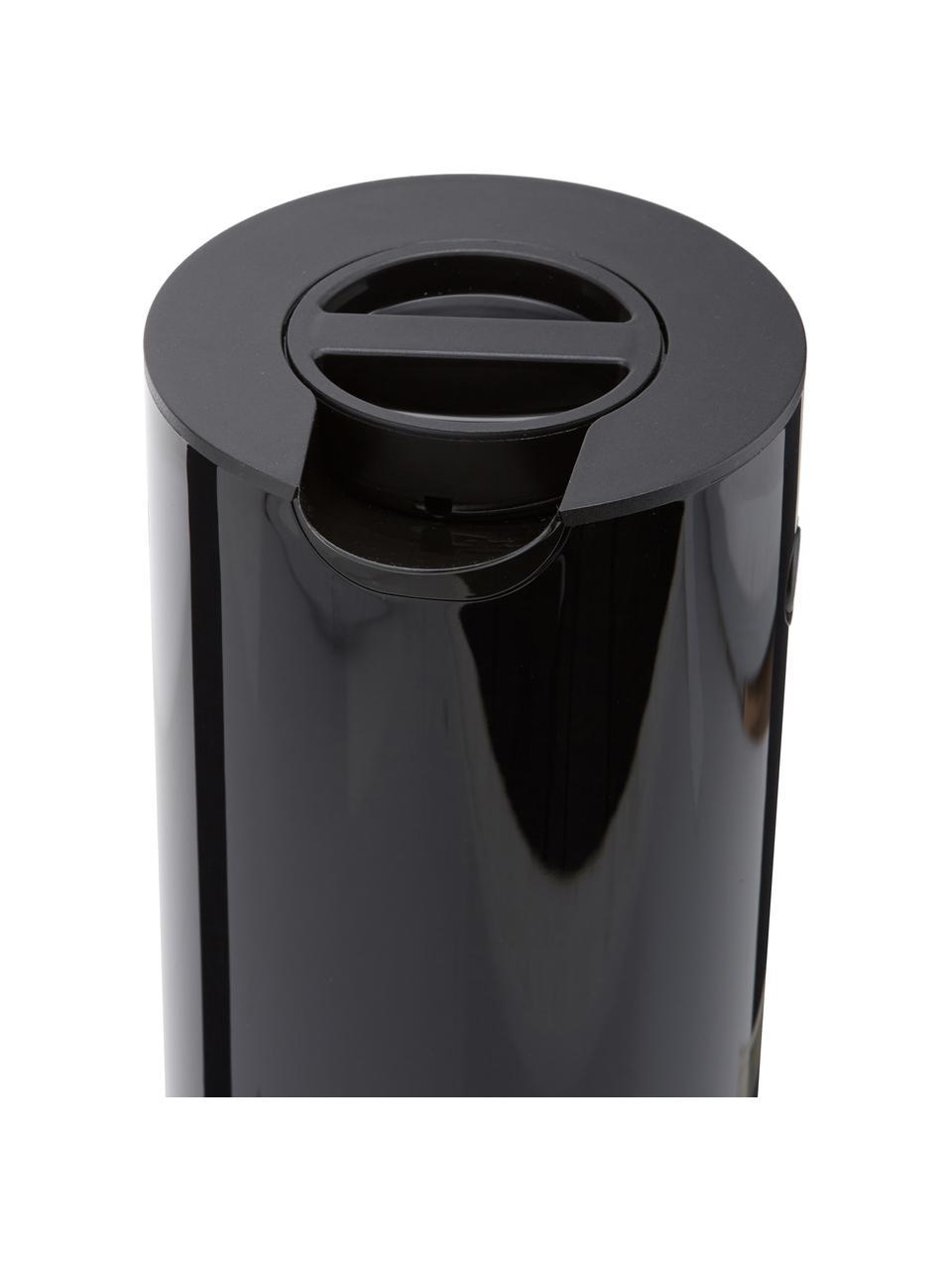 Isolierkanne EM77 in Schwarz glänzend, 1 L, ABS-Kunststoff, im Inneren mit Glaseinsatz, Schwarz, 1 L