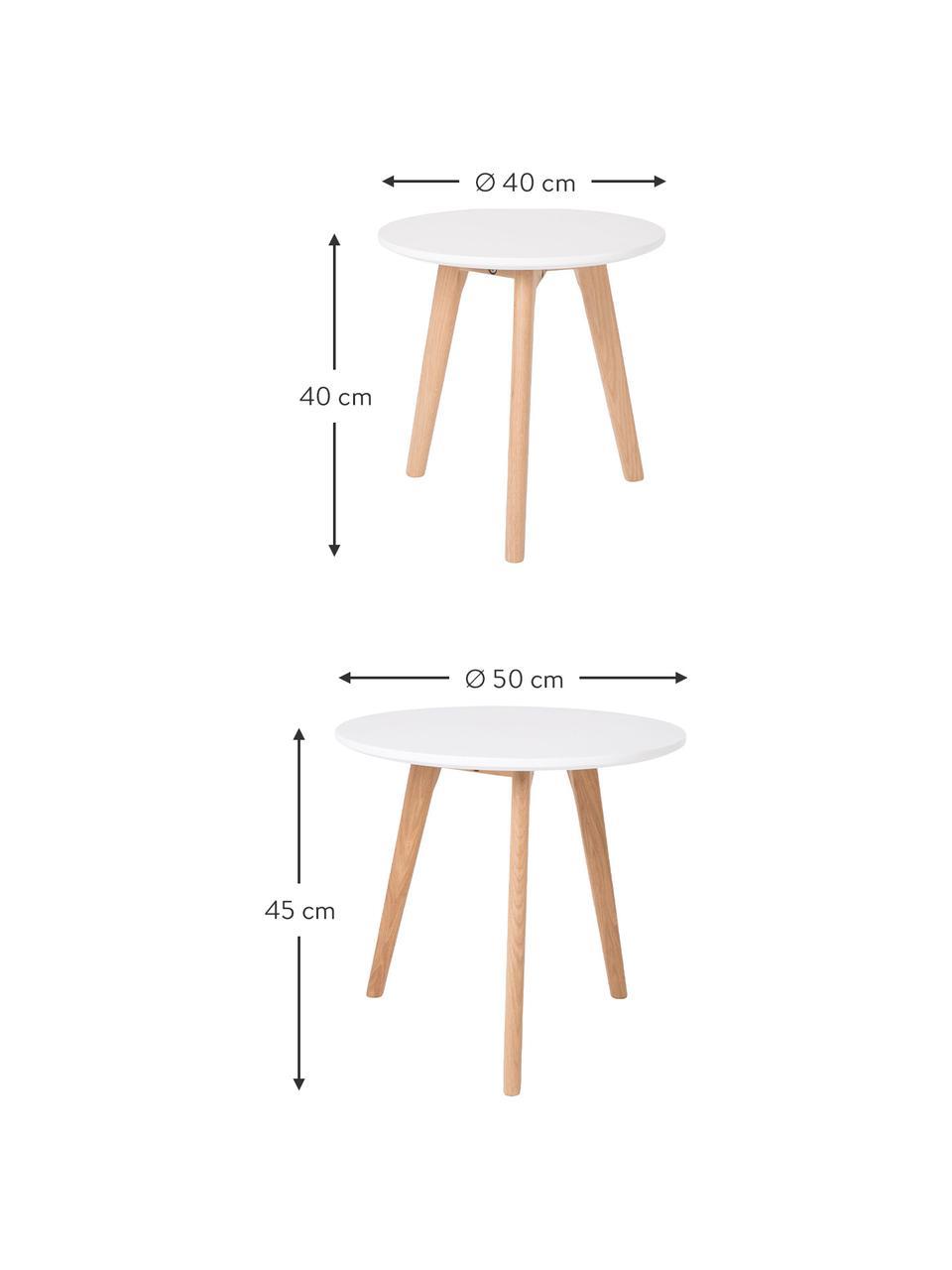 Set 2 tavolini design scandi Bodine, Gambe: legno massiccio di querci, Bianco, Set in varie misure