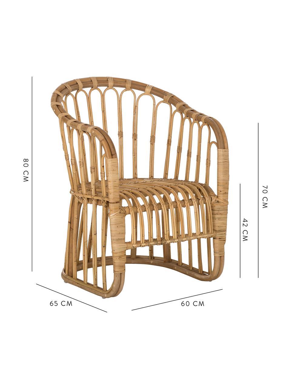 Rattan-Armlehnstuhl Palma, Rattan, Braun, B 60 x T 65 cm