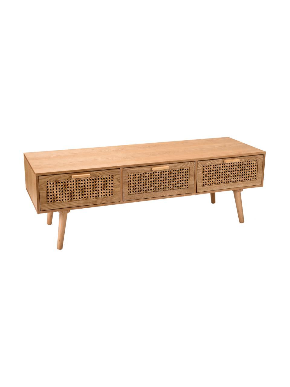 TV-Lowboard Romeo aus Holz mit Wiener Geflecht, Front: Rohrgeflecht, Korpus: Mitteldichte Holzfaserpla, Eschenholz, 120 x 40 cm