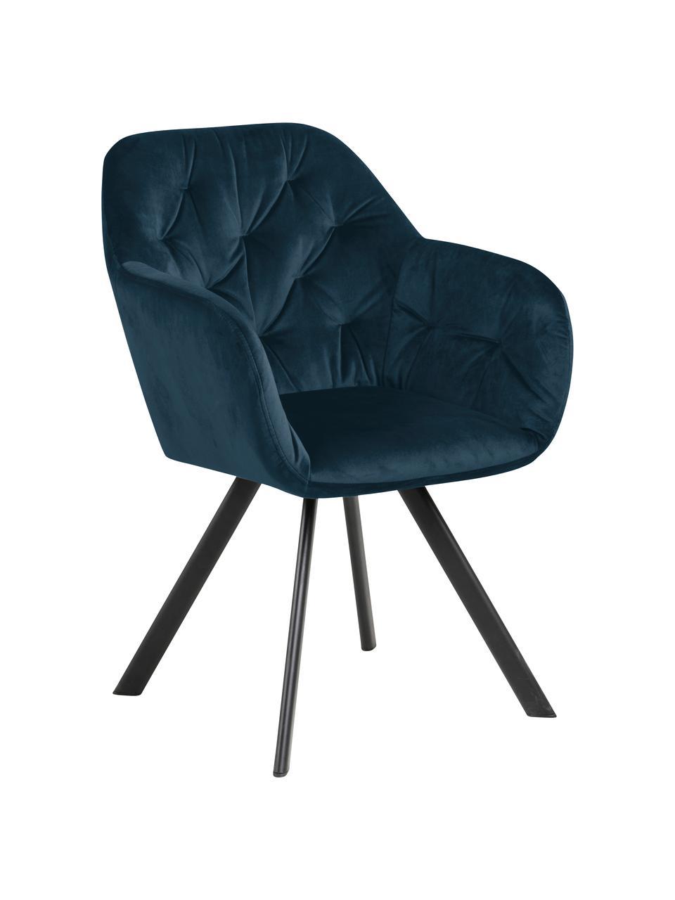 Draaibare fuwelen armstoel Lucie, Bekleding: polyester fluweel, Poten: gepoedercoat metaal, Donkerblauw, zwart, B 58 x D 62 cm