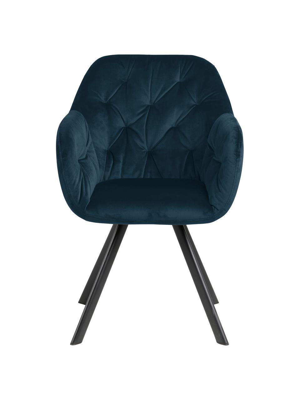 Krzesło z podłokietnikami z aksamitu Lucie, obrotowe, Tapicerka: aksamit poliestrowy Dzięk, Nogi: metal malowany proszkowo, Aksamitny ciemny niebieski, czarny, S 58 x G 62 cm