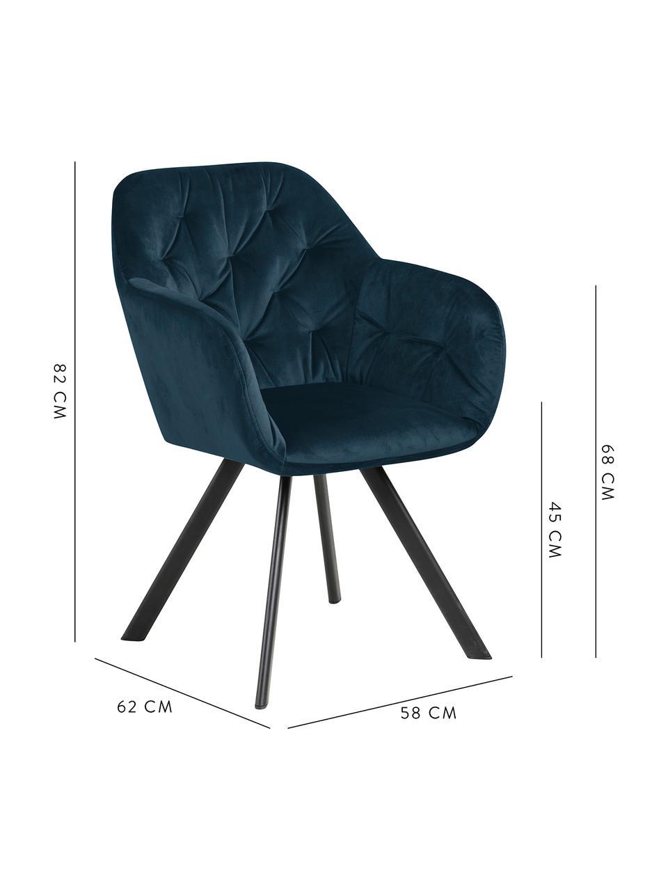 Chaise pivotante en velours et à accoudoirs Lucie, Bleu foncé, noir