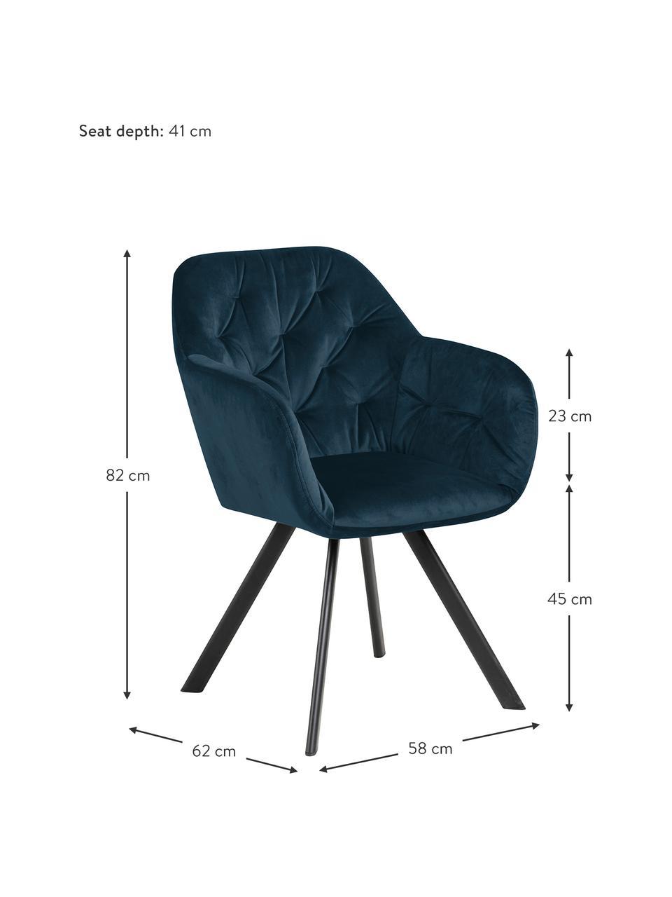 Chaise pivotante en velours et à accoudoirs Lucie, Velours bleu foncé, noir