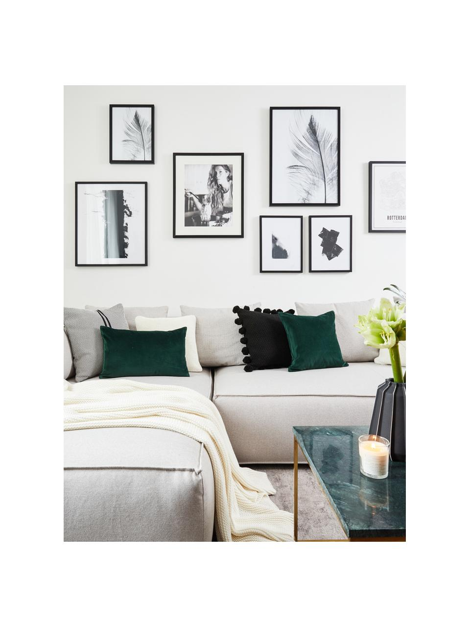Ingelijste digitale print Feather, Afbeelding: digitale afdruk op papier, Lijst: kunststof (PU), Afbeelding: zwart, wit. Frame: zwart, 30 x 40 cm