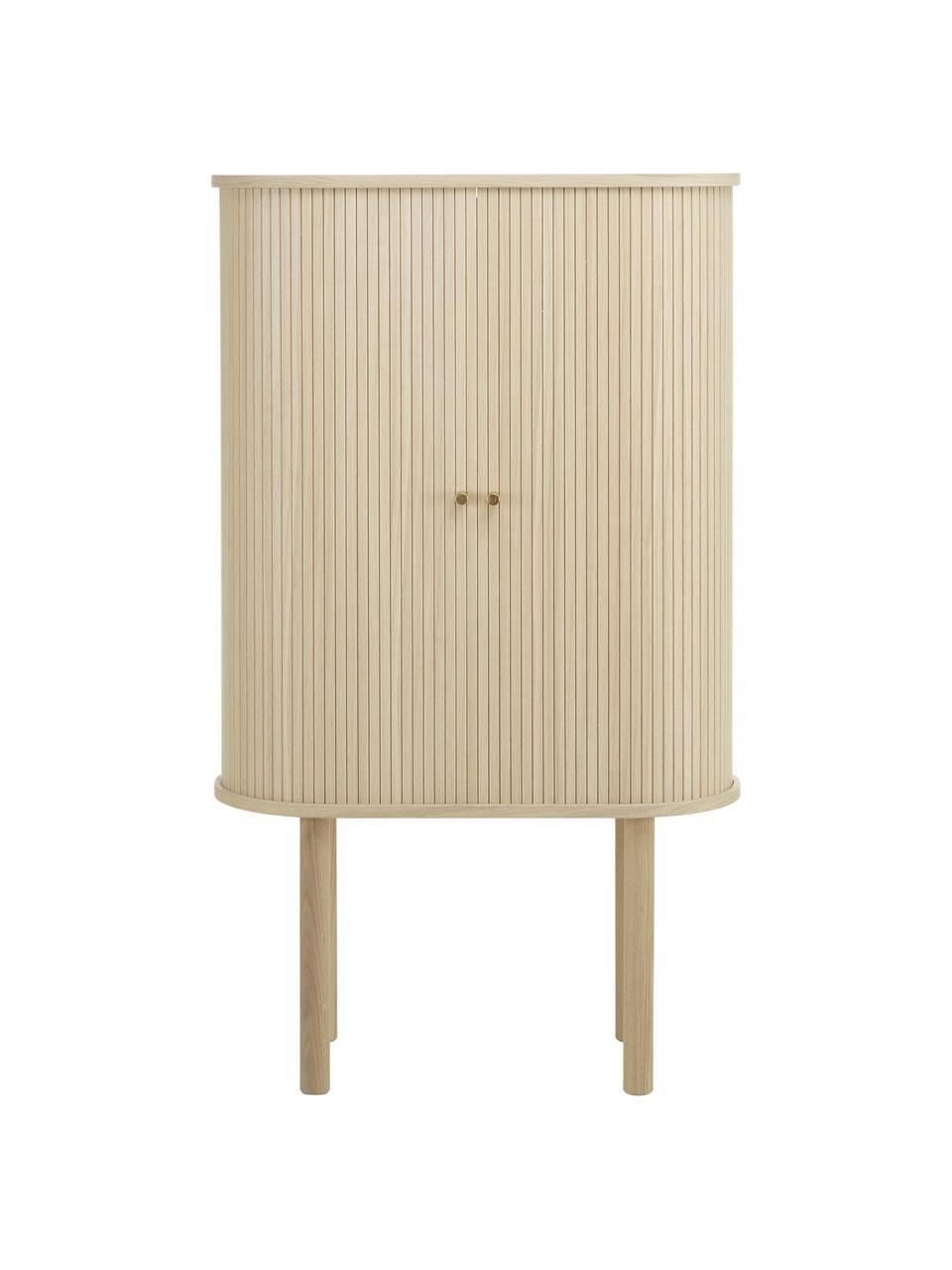 Houten dressoir Calary met geribde voorzijde, Frame: MDF en multiplex met eike, Poten: massief eikenhout, FSC-ge, Licht hout, 75 x 130 cm