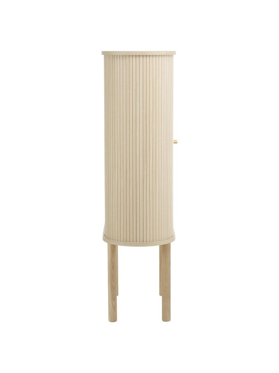 Credenza alta in legno con ante scorrevoli Calary, Gambe: legno massiccio di querci, Legno chiaro, Larg. 75 x Alt. 130 cm