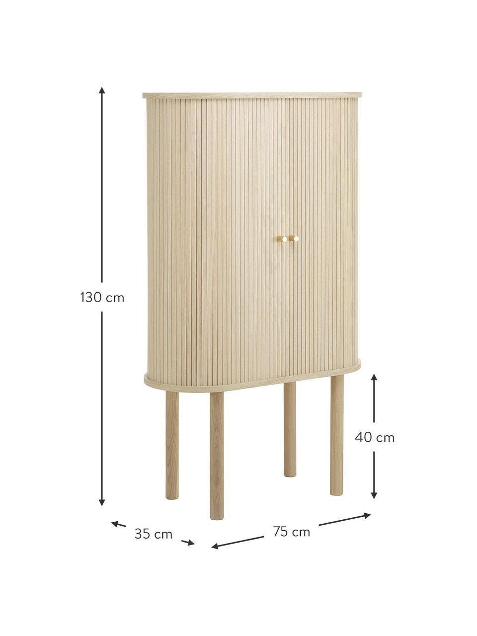 Rangement en bois clair avec portes coulissantes Calary, Bois clair
