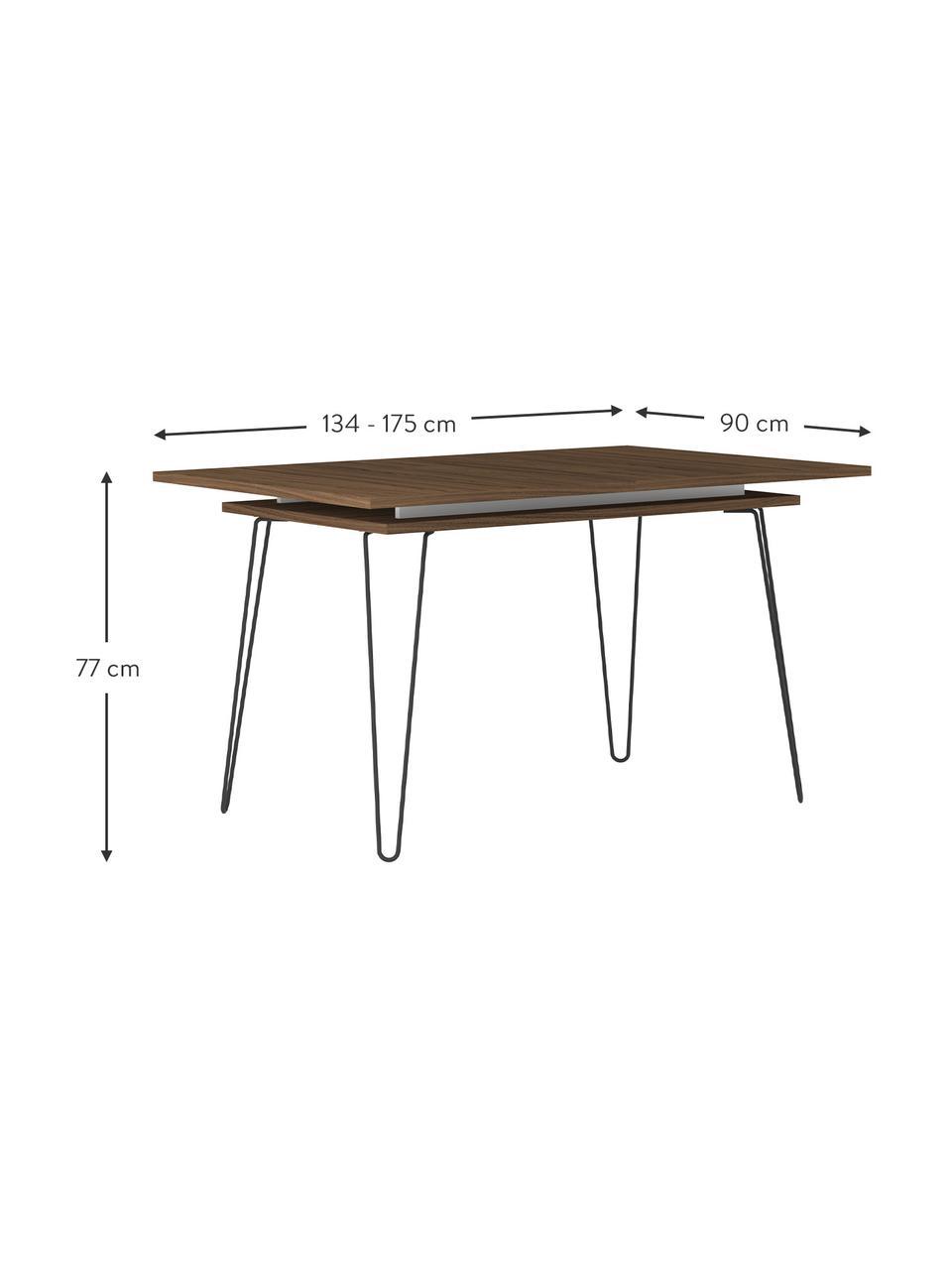 Uittrekbare eettafel Aero, Poten: gelakt metaal, Walnoothout, B 134-174 x D 90 cm