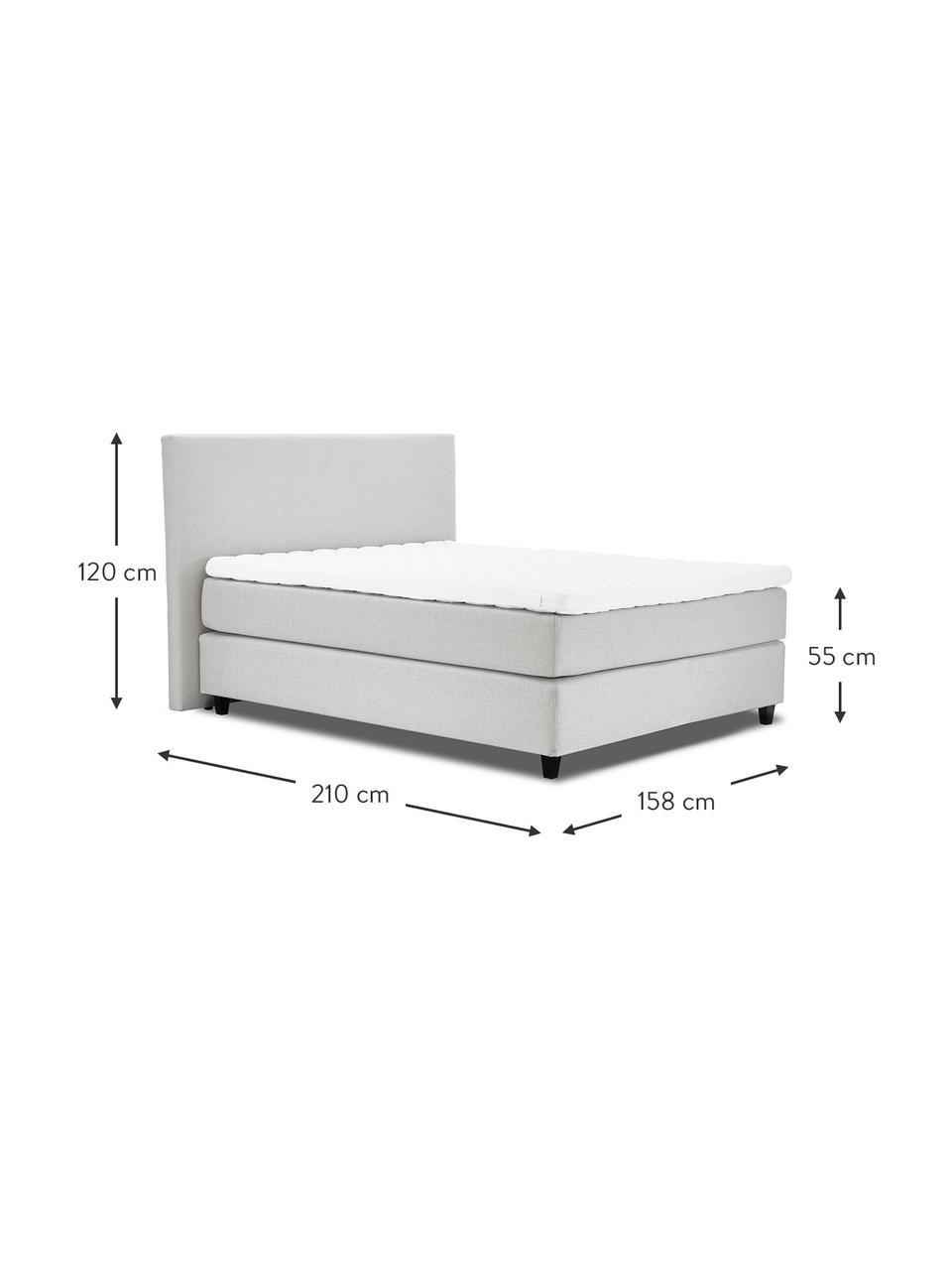 Łóżko kontynentalne premium Eliza, Nogi: lite drewno brzozowe, lak, Jasny szary, 140 x 200 cm