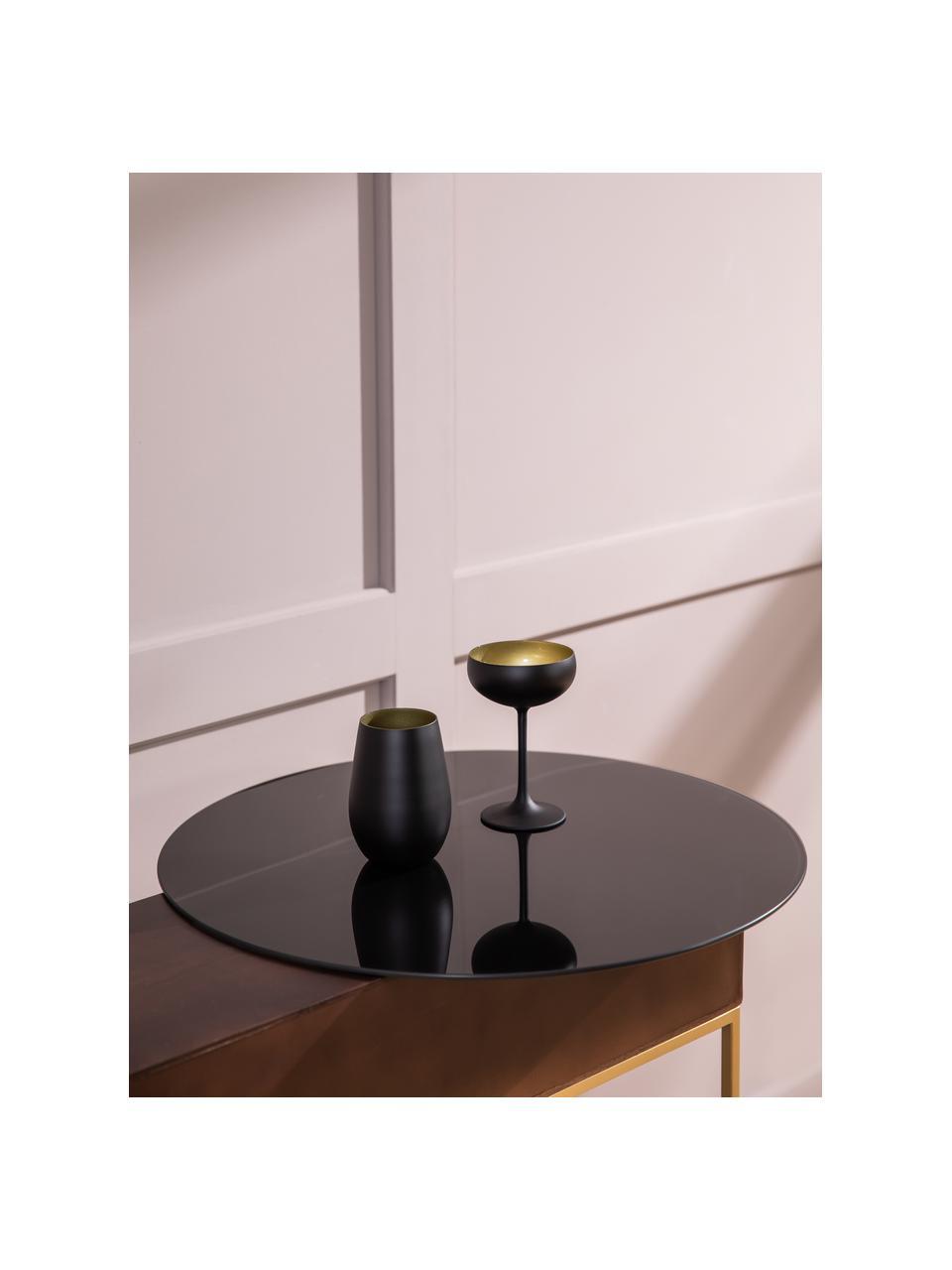 Kristall-Champagnerschalen Elements in Schwarz/Gold, 6 Stück, Kristallglas, beschichtet, Schwarz, Messingfarben, Ø 10 x H 15 cm