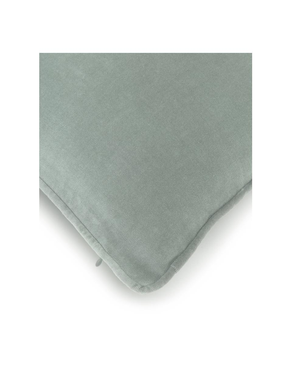 Federa arredo in velluto verde salvia Dana, 100% velluto di cotone, Verde salvia, Larg. 50 x Lung. 50 cm