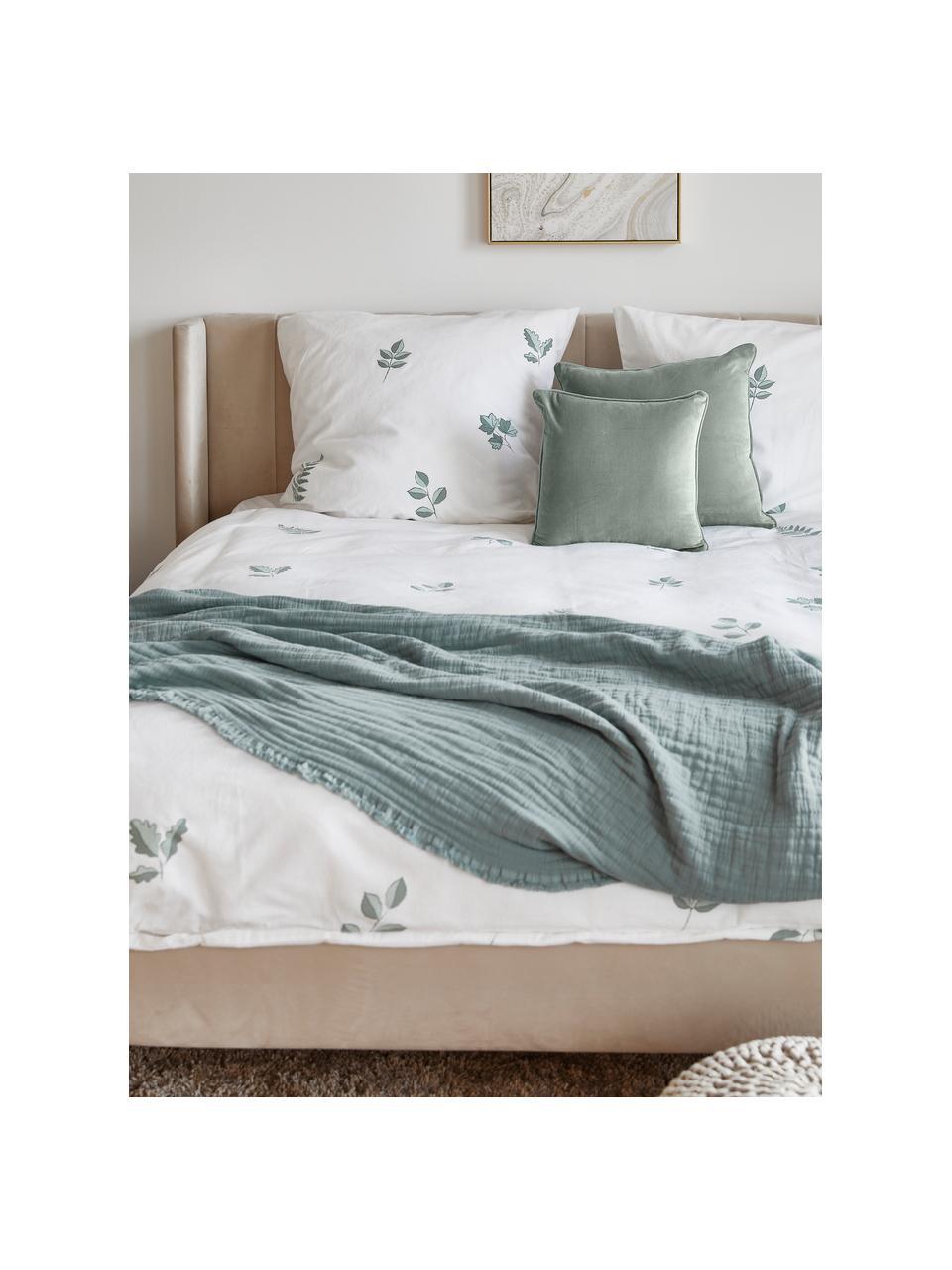 Funda de cojín de terciopelo Dana, 100%terciopelo de algodón, Verde salvia, An 50 x L 50 cm