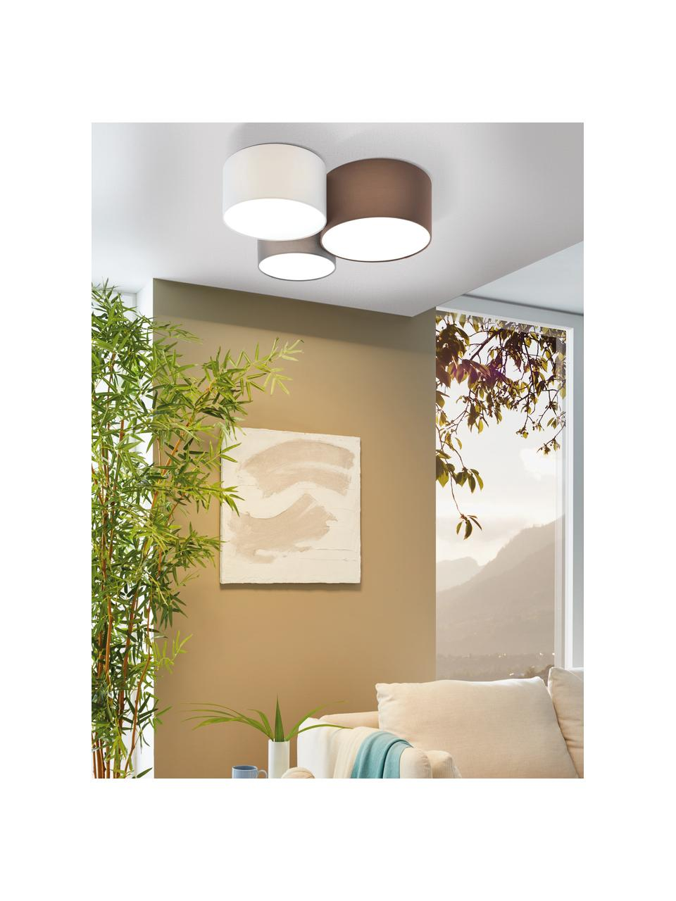 Lampa sufitowa Pastore, Brązowy, szary, biały, Ø 61 x W 26 cm