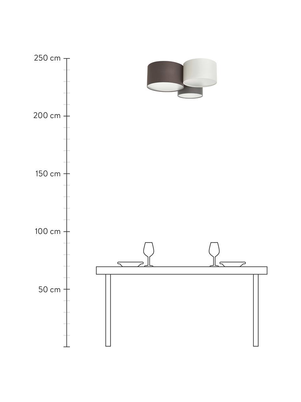 Große Deckenleuchte Pastore, Braun, Grau, Weiß, Ø 61 x H 26 cm
