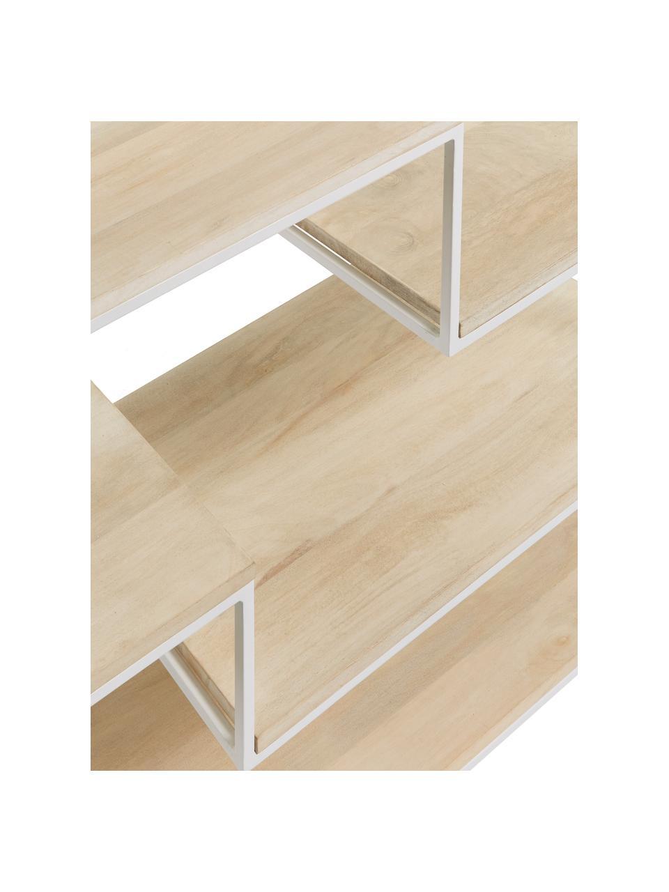 Wandrek Push van hout en metaal, Frame: gelakt metaal, Wit, bruin, 100 x 180 cm