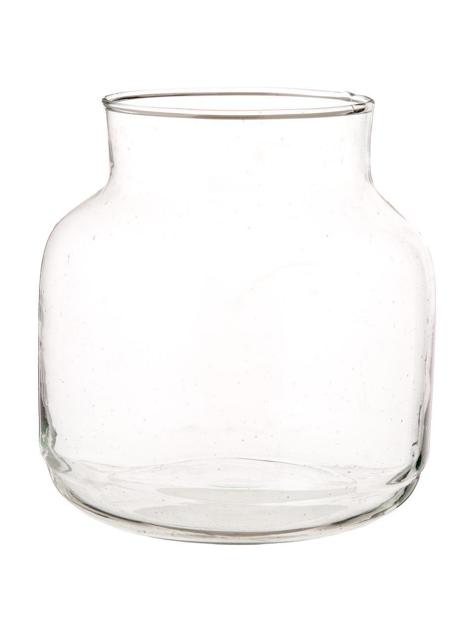 Mundgeblasene Vase Dona aus recyceltem Glas, Recyceltes Glas, Transparent, Ø 22 x H 23 cm