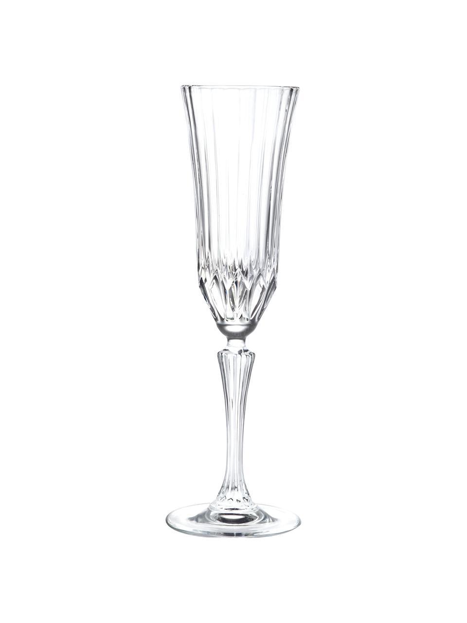 Kristall-Sektgläser Adagio mit Relief, 6 Stück, Kristallglas, Transparent, Ø 8 x H 25 cm