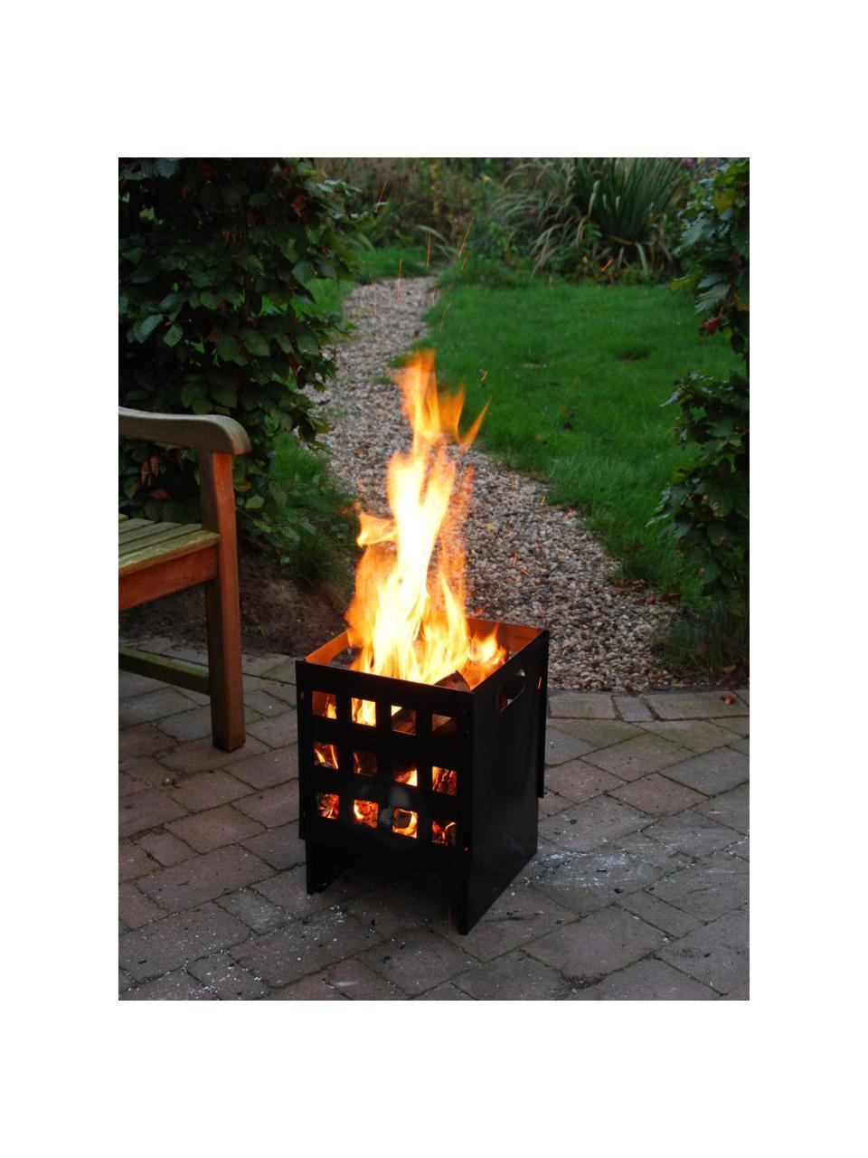 Schwarzer Feuerkorb Grann, Weichstahl, beschichtet, Schwarz, 30 x 40 cm