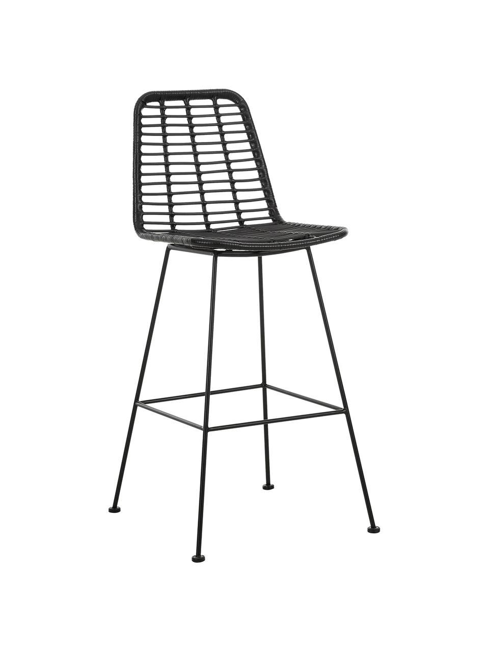 Polyrattan-Barstuhl Costa mit Metall-Beinen, Sitzfläche: Polyethylen-Geflecht, Gestell: Metall, pulverbeschichtet, Schwarz, Schwarz, 56 x 110 cm