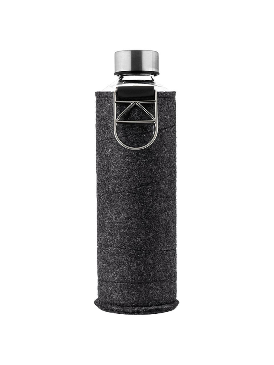 Trinkflasche Mismatch, Flasche: Borosilikatglas, Deckel: Edelstahl, Tritan, Siliko, Bezug: Polyesterfilz, Schwarz, Transparent, Silberfarben, Ø 8 x H 26 cm