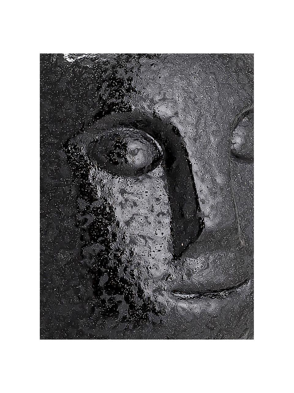 Handgefertigter Kerzenhalter Brit, Steingut, Schwarz, Ø 9 x H 9 cm