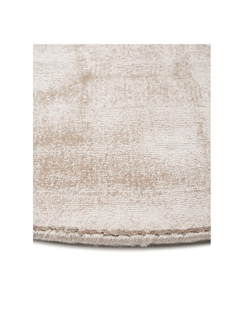 Okrągły ręcznie tkany dywan z wiskozy Jane, Beżowy, Ø 150 cm (Rozmiar M)