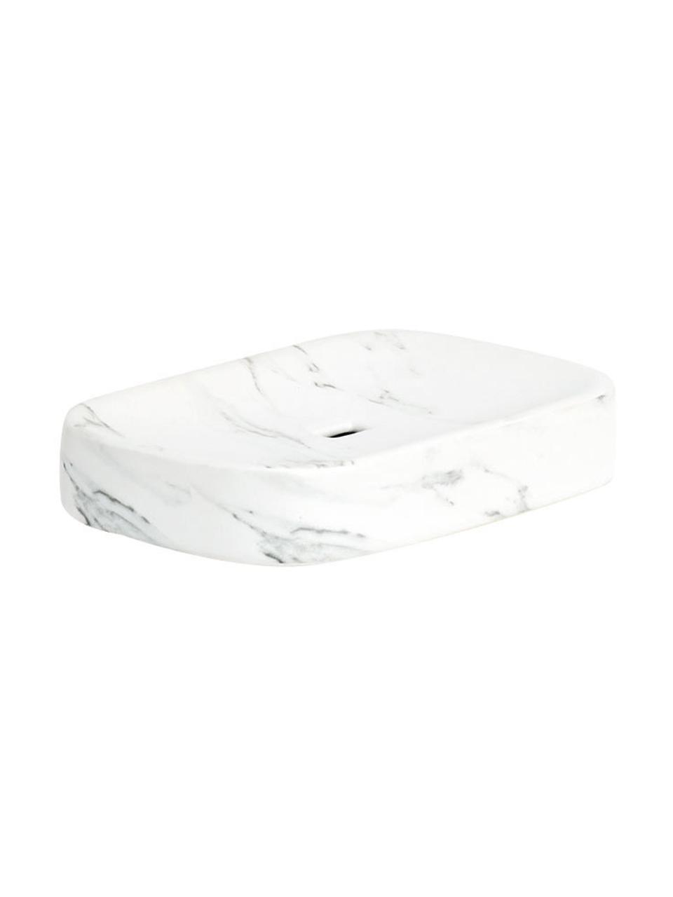 Seifenschale Marble aus Keramik, Keramik, Weiß, 13 x 2 cm