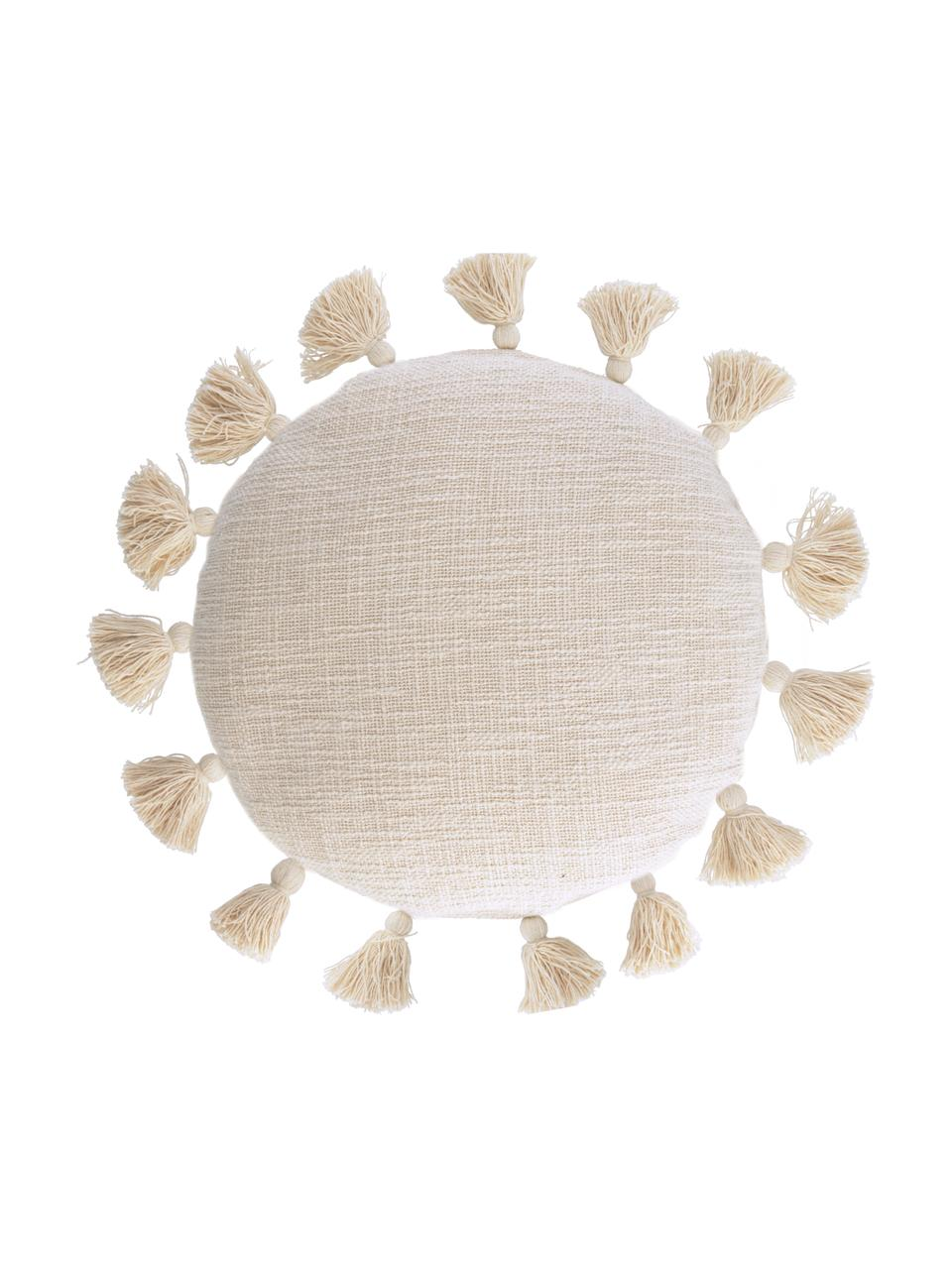 Federa arredo con nappine e superficie strutturata Chiarina, 100% cotone, Beige, Larg. 45 x Lung. 45 cm