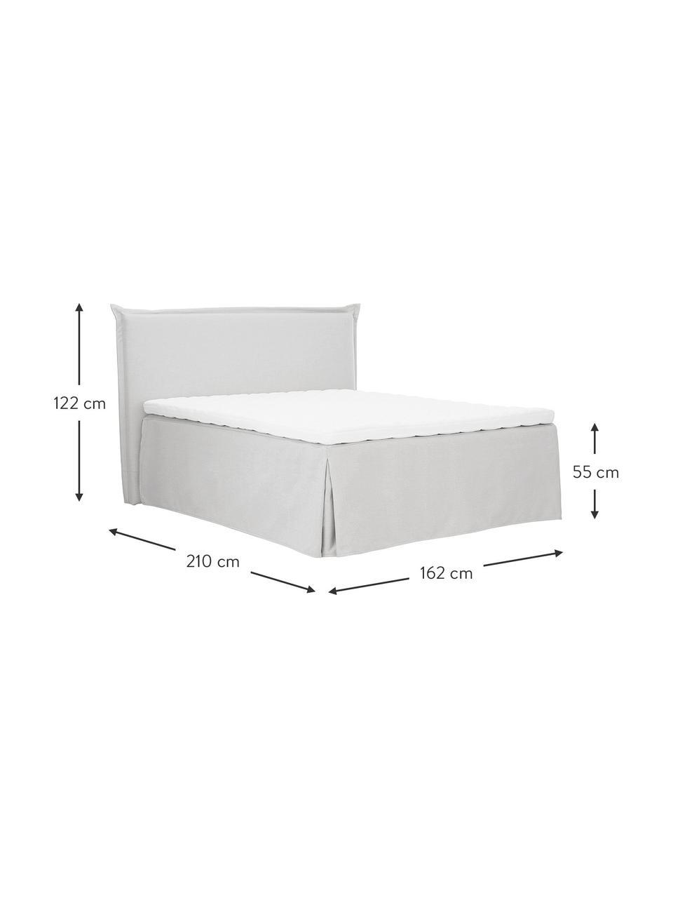 Premium boxspring bed Violet in lichtgrijs, Matras: 5-zones pocketvering, Poten: massief gelakt berkenhout, Geweven stof lichtgrijs, 160 x 200 cm