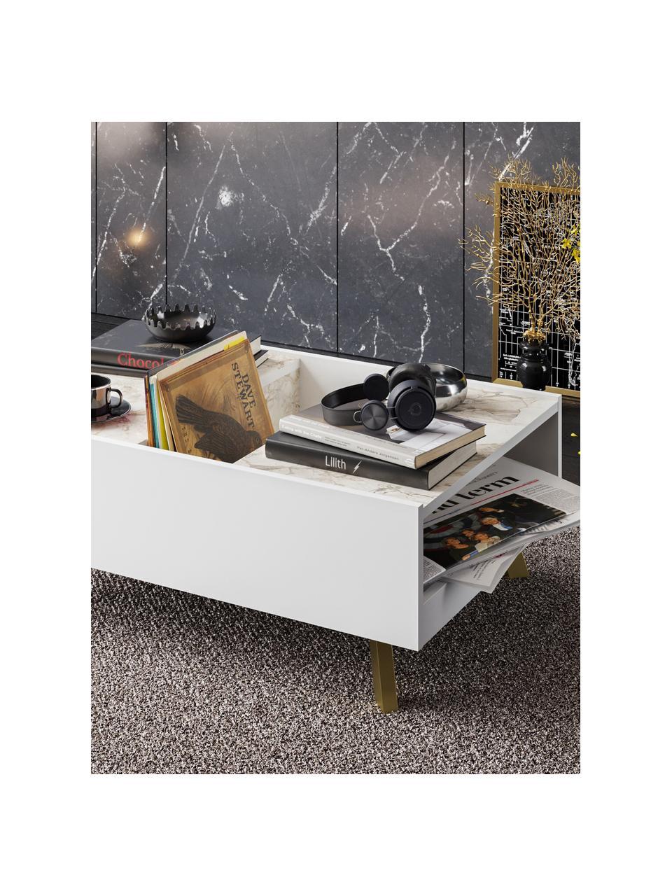 Tavolino da salotto effetto marmo con contenitore Frida, Gambe: legno rivestito, Bianco, ottonato, Larg. 90 x Alt. 34 cm