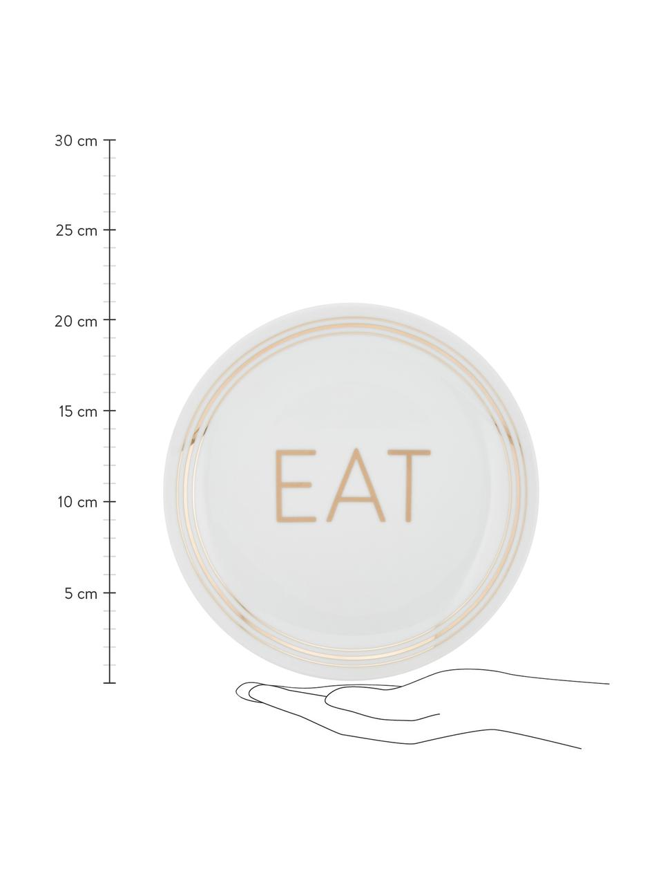 Porzellan Frühstücksteller Glimmer mit goldener Aufschrift, 4er-Set, Porzellan, Weiß, Goldfarben, Ø 21 cm
