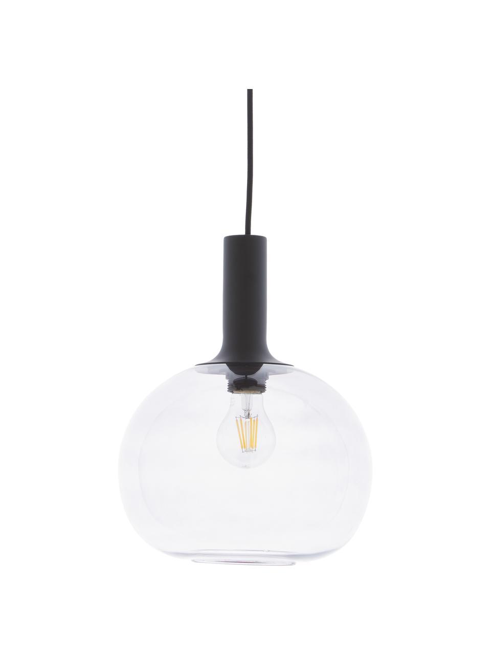 Lampa wisząca ze szkła dymionego Alton, Czarny, szary, transparentny, Ø 25 x W 33 cm