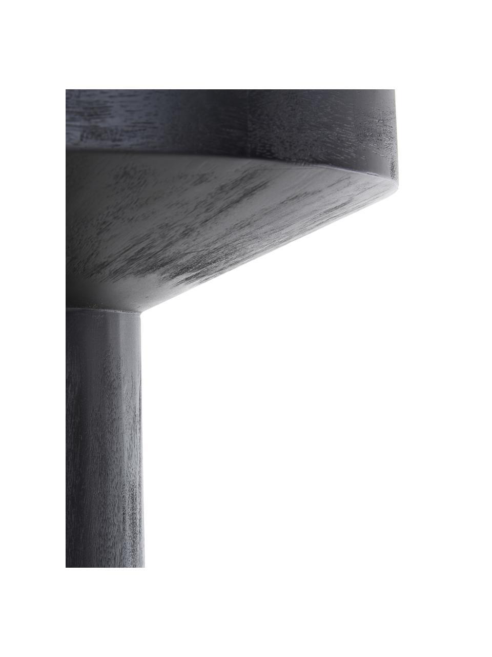 Tavolino rotondo in legno di mango Benno, Legno massiccio di mango verniciato, cemento, Legno di mango nero verniciato, Ø 50 x Alt. 50 cm