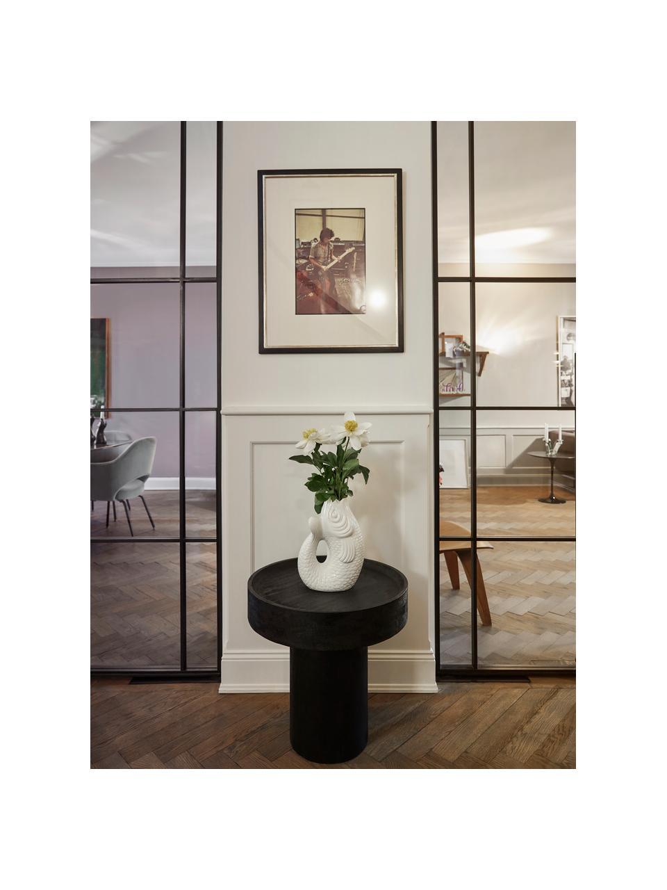 Beistelltisch Benno aus Mangoholz in Schwarz, Massives Mangoholz, lackiert, Beton, Schwarz, ∅ 50 x H 50 cm