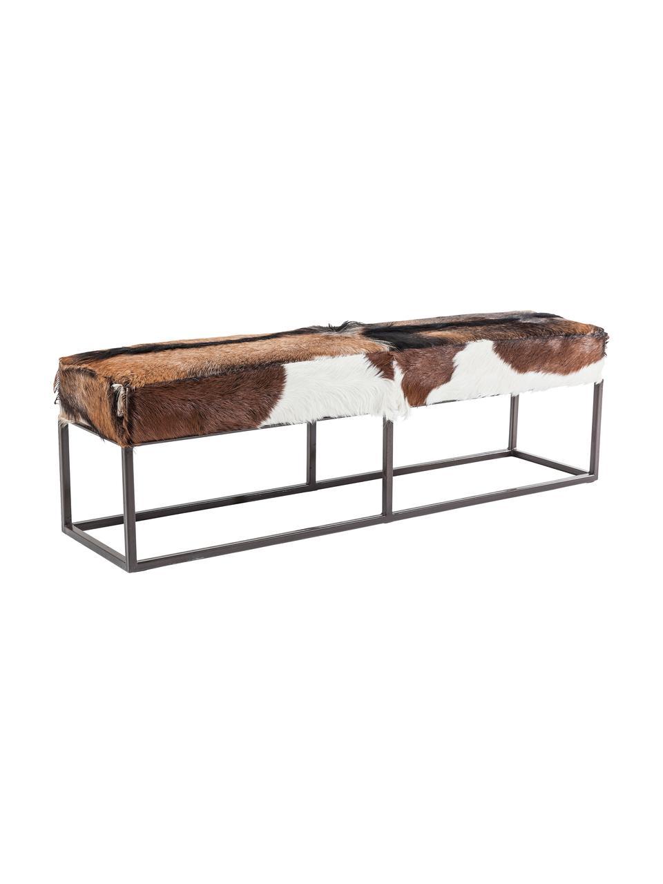 Panca in pelle di capra Country Life, Seduta: pelle di capra, Struttura: acciaio, verniciato, Seduta: pelle di capra Struttura: acciaio verniciato, Larg. 140 x Alt. 47 cm