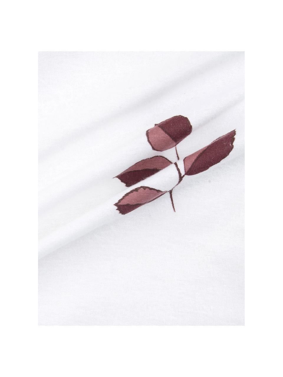 Flanell-Bettwäsche Fraser mit winterlichem Blattmuster, Webart: Flanell Flanell ist ein k, Bordeaux, Weiß, 240 x 220 cm + 2 Kissen 80 x 80 cm