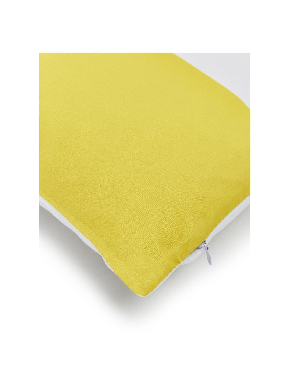 Kissenhülle Magdalena mit Streifen, 100% Polyester, Weiß, Gelb, Schwarz, 40 x 40 cm