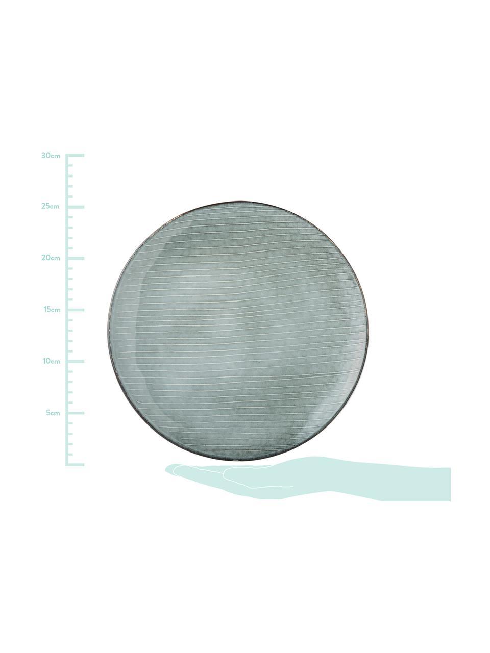 Piatto piano in gres fatto a mano Nordic Sea 4 pz, Gres, Grigio- e tonalità blu, Ø 26 cm