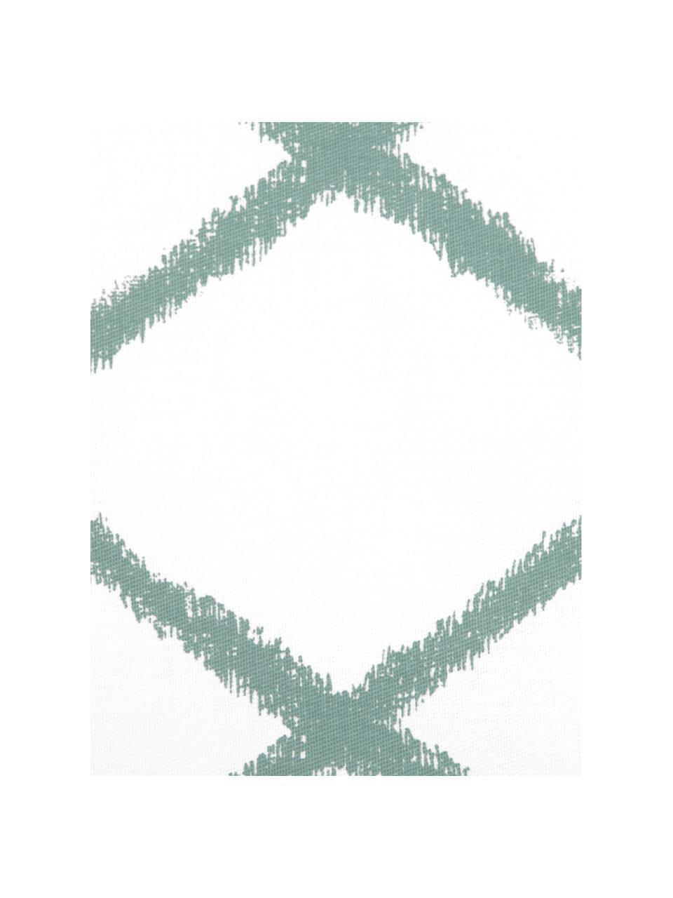 Kissenhülle Laila mit Rautenmuster, 100% Baumwolle, Weiss, Salbeigrün, 45 x 45 cm