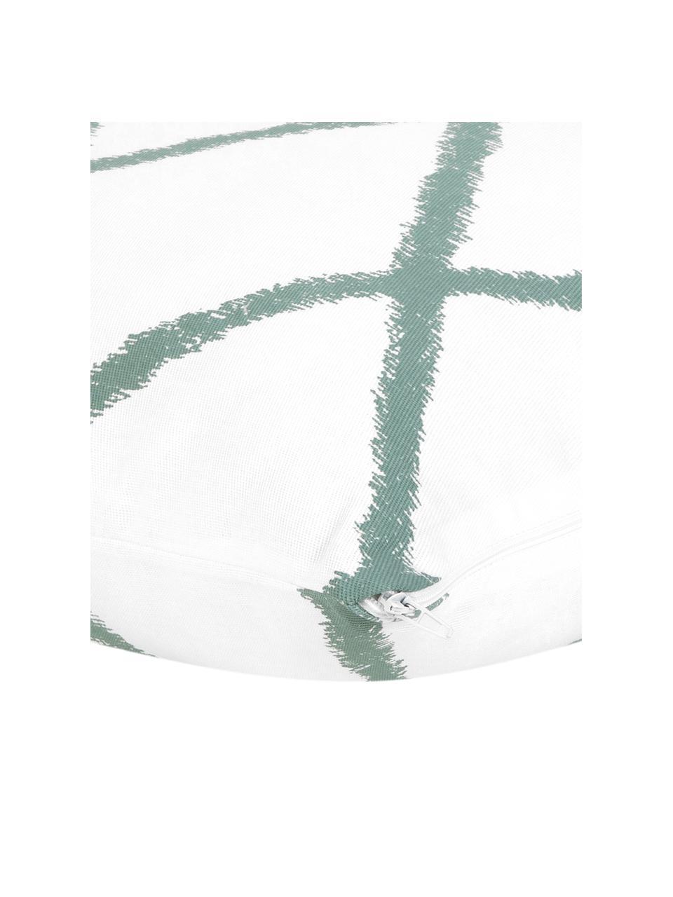 Funda de cojín Laila, 100%algodón, Blanco, verde salvia, An 45 x L 45 cm