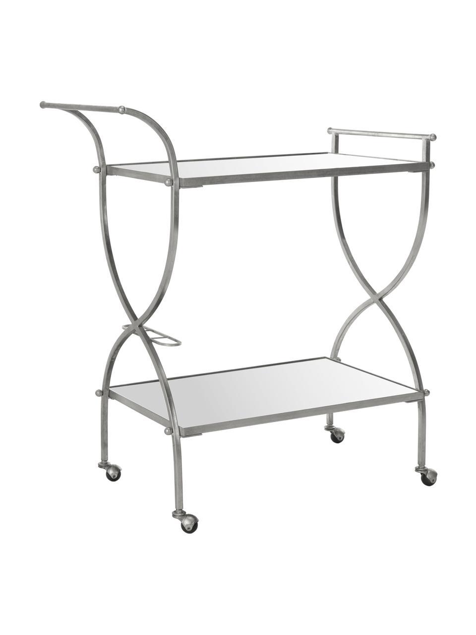 Metall-Servierwagen Porter, Gestell: Eisen, Ablage oben und unten: Spiegelglas, Silberfarben, 85 x 98 cm
