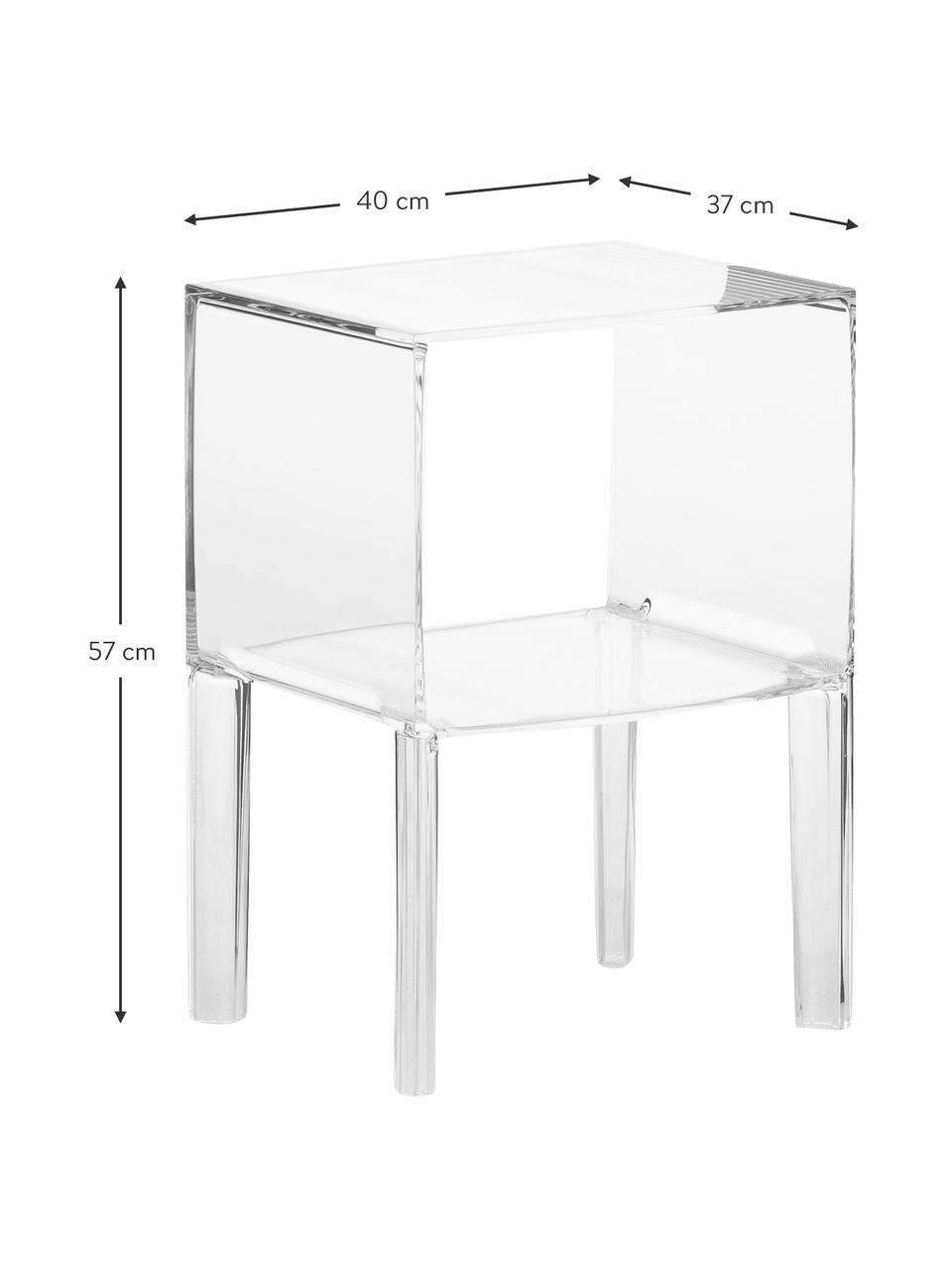 Comodino Ghost Buster, Materiale sintetico, Trasparente, Larg. 40 x Alt. 57 cm