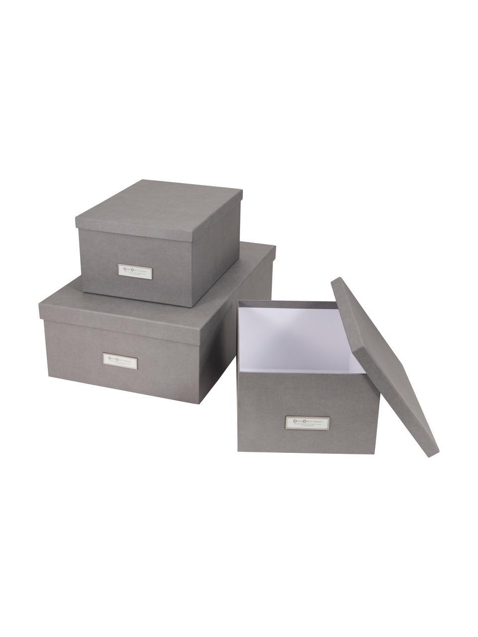 Aufbewahrungsboxen-Set Inge, 3-tlg., Box: Fester, laminierter Karto, Box außen: HellgrauBox innen: Weiß, Sondergrößen