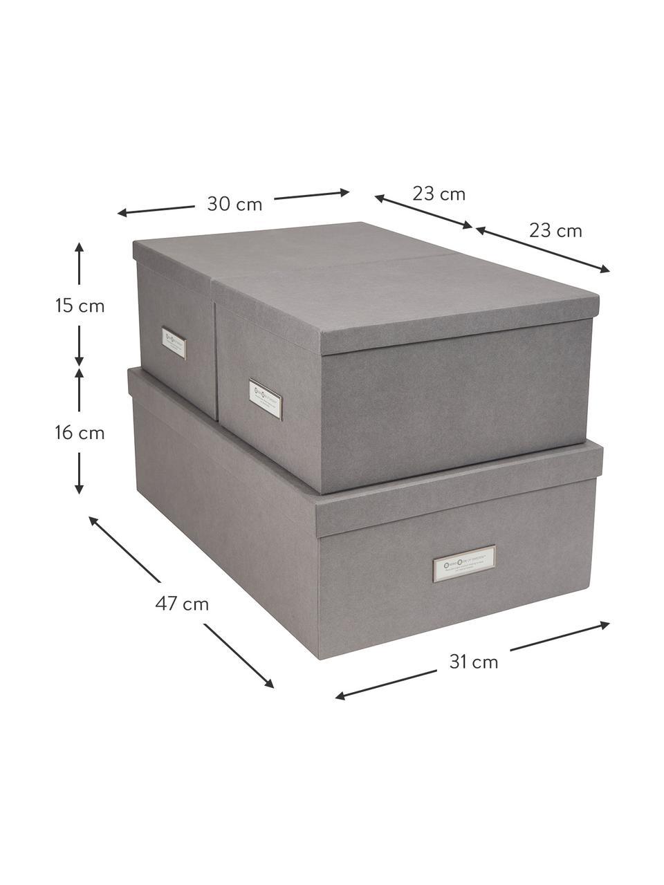 Komplet pudełek do przechowywania Inge, 3 elem., Na zewnątrz: jasny szary Wewnątrz: biały, Komplet z różnymi rozmiarami