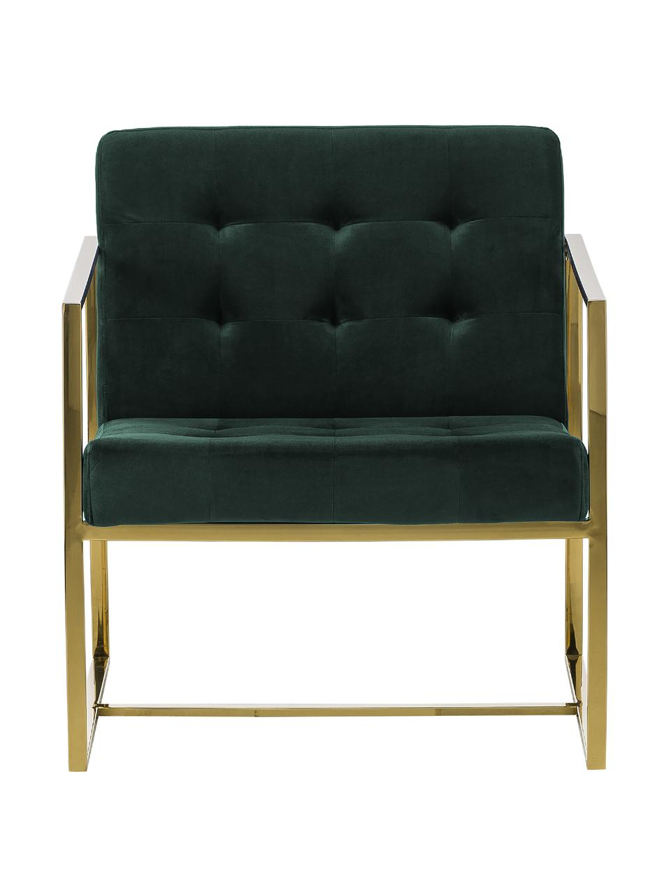 Fauteuil lounge en velours vert foncé Manhattan, Velours vert foncé
