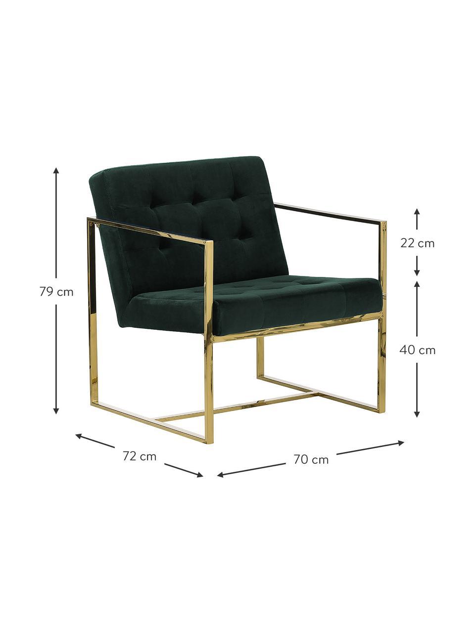 Sedia a poltrona in velluto verde Manhattan, Rivestimento: velluto (poliestere) 50.0, Struttura: metallo rivestito, Velluto verde scuro, Larg. 70 x Prof. 72 cm