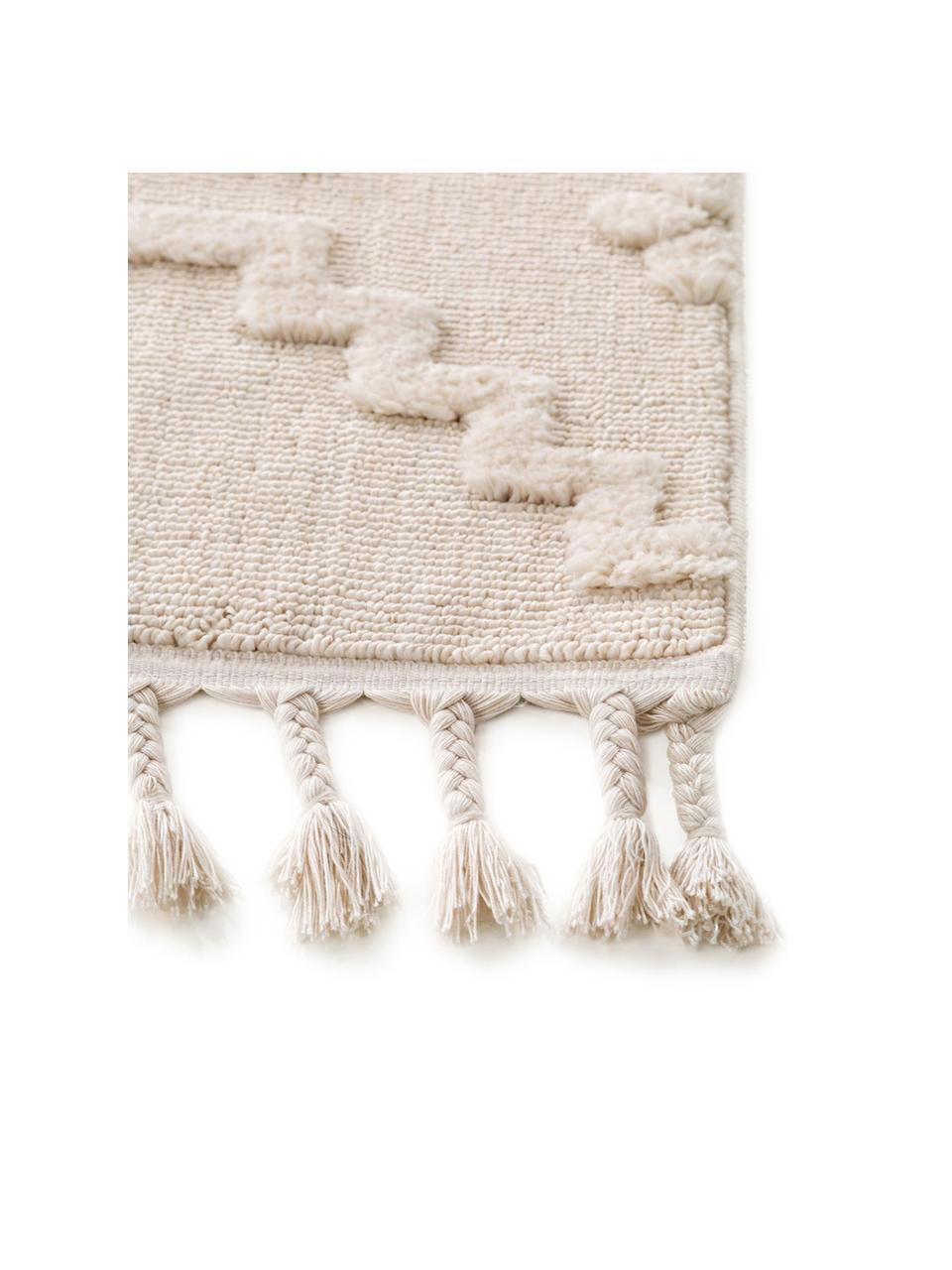 Tappeto boho color crema con motivo a rilievo Oyo, Retro: 100% cotone, Crema, Larg. 200 x Lung. 290 cm (taglia L)